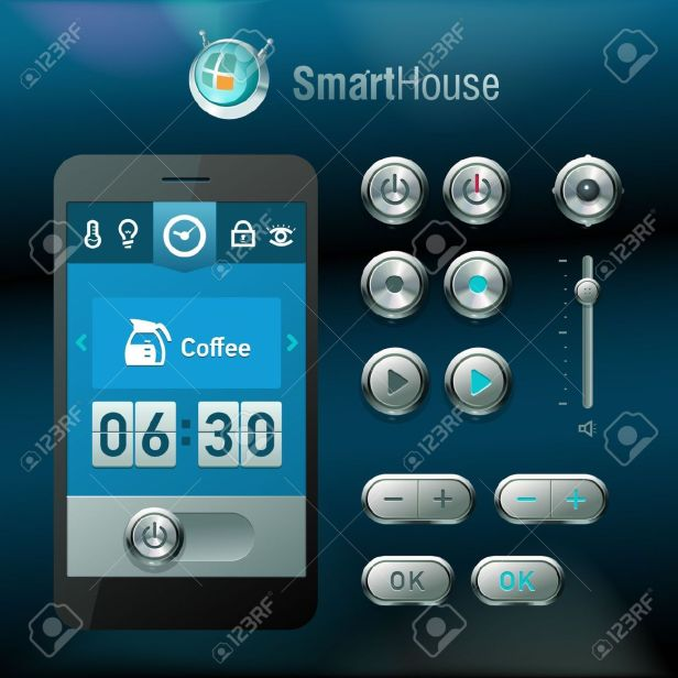 20233503-mobile-interface-and-elements-for-smart-house-system-stock-vector