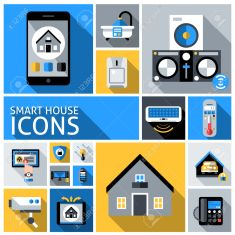 Smart house automated household control system flat decorative icons set isolated vector illustration