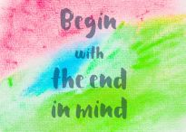 54737971 - begin with the end in mind. inspirational quote over abstract water color textured background